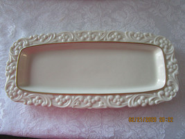 Vintage Lenox China Dish Oblong Ivory with Gold Band - $11.99