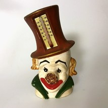 "Vintage CLOWN Porcelain Enesco Figure Thermometer 4.5"" high Mid Century China - $23.76"