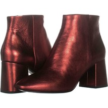 Ash Heroin Block Heel Ankle Boots 228, Red Leather, 9 US / 39 EU - $93.11