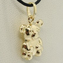 18K YELLOW GOLD ROUNDED BEAR TEDDY BEAR PENDANT CHARM 20 MM SMOOTH MADE IN ITALY image 2