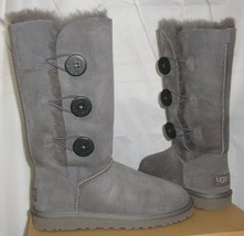 Ugg Australia Gray Bailey Button Triple Triplet Tall Boots Size Us 5 New #1873 - $98.99