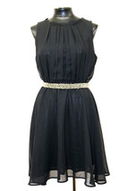 MAISON JULES DRESS SLEEVELESS HIGH NECK BEADED BELT BLACK SIZE M MyAFC - $29.39