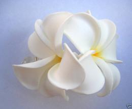 Hawaiian Hawaii Bridal Wedding Foam 2-Flower Hair Clip White Yellow Plum... - €9,74 EUR