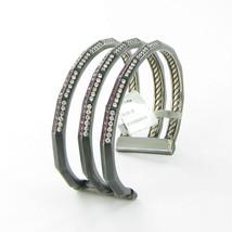 David Yurman Stax Cuff Bracelet 3 Row 22mm Darkened Sterling Diamond Ruby NWT - $3,977.00