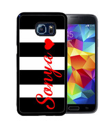 PERSONALIZED RUBBER CASE FOR SAMSUNG S9 S8 S7 S6 S5 PLUS BLACK STRIPES R... - $13.98