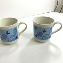 Disney Staffordshire Cup Mugs Blue Hidden Mickey Mouse Lot of 2 - $15.69