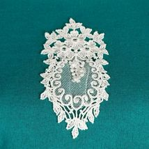 Sturdy Sweats By Lee Teal Textured Sweatshirt Large Vintage Lace Applique image 5