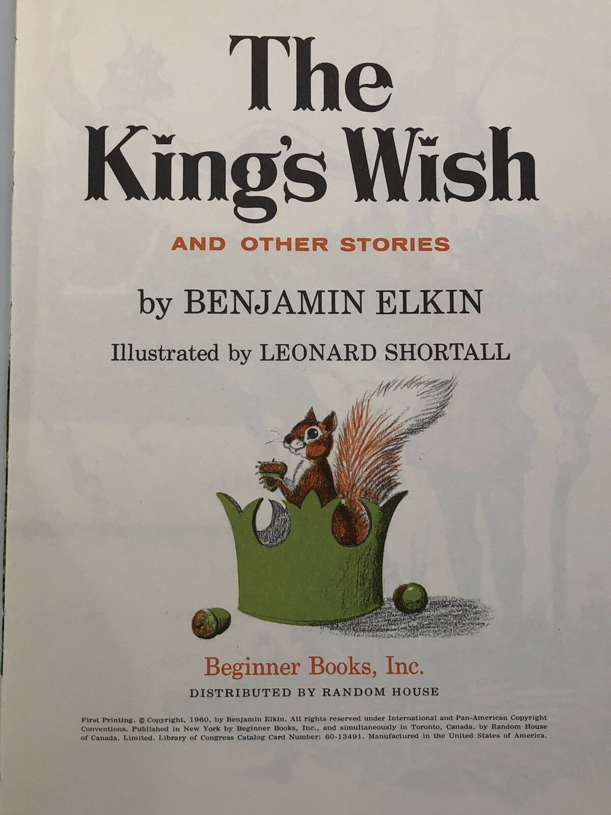 The King's Wish Benjamin Elkin 1960 Beginner Books with DJ Dust Jacket 195/195