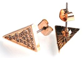Jules Smith Or Zircone Cristal Pierre Allongé Triangle Boucles D'Oreilles image 4
