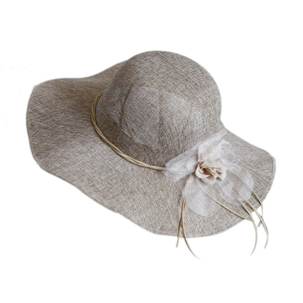 Wide Brim Floral Bow Straw Hat Women Beach Sun Hats Summer Floppy Cap Travel UV  image 5