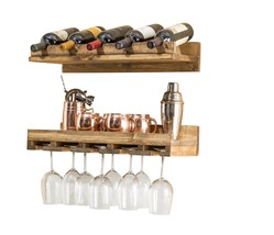 Luxurious Rustic Wine Bottle Glass Commercial Bar Kitchen Storage Displa... - $83.26