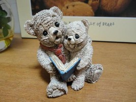 Vintage Father Bear with Baby Boy Son Reading Book Painted Carved Stone ... - $54.92