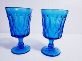 """Lot of 2 Vintage NORITAKE Blue PERSPECTIVE 6 3/8"""" Footed Iced Tea Glass... - $19.80"""
