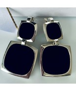 Modern Unique Stylish Sterling Silver Earrings with Natural Square Black Onyx, M - $96.00
