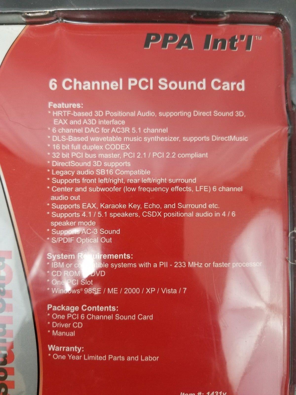 PPA INT'L 1431V Sound Card 6 Channel PCI 96kHz 16 Bit Sound Card PCI Bus Master image 3