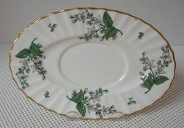 VALENCIA Royal Worcester UNDERPLATE for GRAVY BOAT China England Green Leaf - $14.54