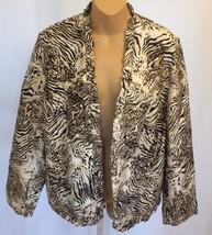 Chico's Jacket Blazer M Medium 2 Silk Lined Brown Animal Print Open Fron... - $24.99