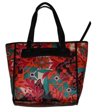 Fossil Bright Bold FLORAL Orange Blk Green Red Keyper Shopper Tote NWT M... - $44.99