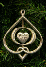 "PEWTER FINISH ENAMELED METAL ORNAMENT w/ HEART PENDANT ""GRANDMA YOU ARE ... - $12.88"