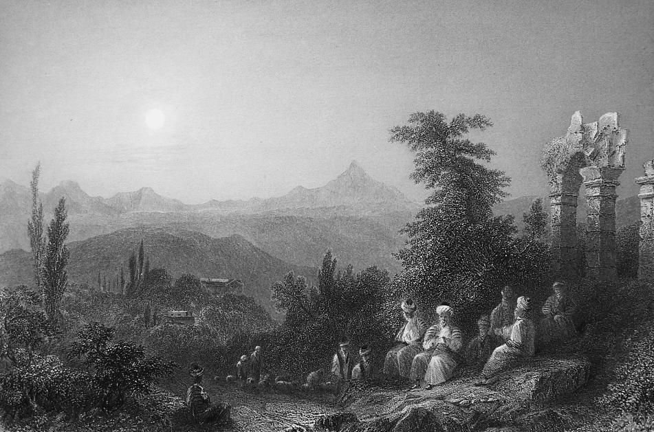 TURKEY Scenery at Samandag Ancient Village Beityass - 1839 Engraving Print