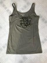 Eddie Bauer Olive XS Petite Sleeveless Tank Top Silk Ruffle Front Cotton... - $15.79