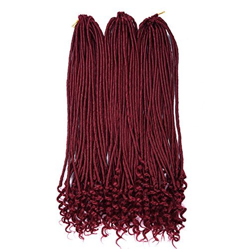 Silike 18' Curly End Faux Locs Crochet Braids3 Pieces 24Roots/Piece Water Wave E