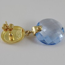 SOLID 18K YELLOW GOLD PENDANT EARRINGS OVALS WITH 13 CARATS CUSHION BLUE TOPAZ image 3