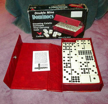 Vintage Catalin 55 Piece Dominoes Gleaming Double Nine Cardinal Snap Case Boxed - $24.76