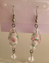 "Murano Glass White with Pink and Green Flower Pierced Earrings 2"" Silver... - $4.95"