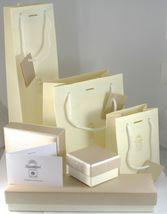 18K YELLOW WHITE GOLD PENDANT EARRINGS, SATIN FRAMED SPIRAL DISC, BUNCH, 4.5 cm image 6