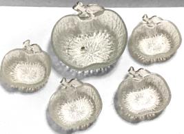 Apple Shape Pressed Glass Crinkle 5 Pc Serving Set 1 large 4 small Bowls... - $61.12