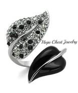 WOMEN'S STAINLESS STEEL BLACK & WHITE CRYSTAL LEAF SHAPE FASHION RING SZ... - $17.09