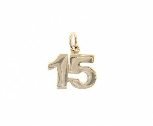 18K YELLOW GOLD NUMBER 15 FIFTEEN PENDANT CHARM, 0.7 INCHES 17 MM MADE IN ITALY