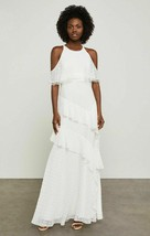 BCBG MAX AZRIA OFF WHITE COLD SHOULDER CHIFFON TIERED MAXI DRESS NWT! $4... - $60.76