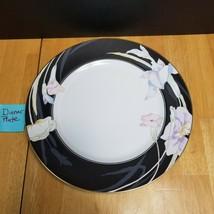 Mikasa Charisma Black Dinner Plate Black with Flowers L9050 - $7.91