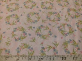 1/2 Yd RJR Quilt Fabric Whispering Glen Flower Wreath on Lt Pink Blue Gr... - $5.09