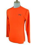 Under Armour Men's Fitted Cold Gear Fleece Lined Long Sleeve Orange Shir... - $21.77