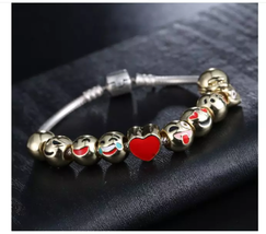 Emoji Charm Bracelet with 10 Gold Plated Charms - 1x w/Random Color and Design image 3