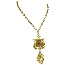 MINT. Vintage Christian Lacroix rare golden chain necklace with crystal heart  - $322.00