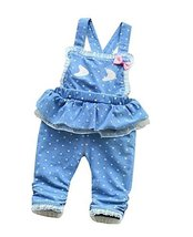 Beautiful Children Overall Lovely Denim Lace Baby Girl Jeans Overall Blue