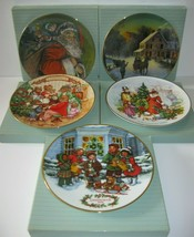 Vintage AVON Christmas Plates 22K Gold Lot of 5 with Boxes - $30.84