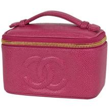 Auth CHANEL Mini Vanity Bag Pink Vanity Vintage Caviar Skin Logo Zipper ... - $1,764.53 CAD