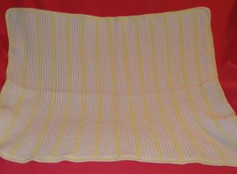Handmade Crochet Baby Girl Boy Blanket Afghan White Yellow Unisex Newborn Stripe image 3