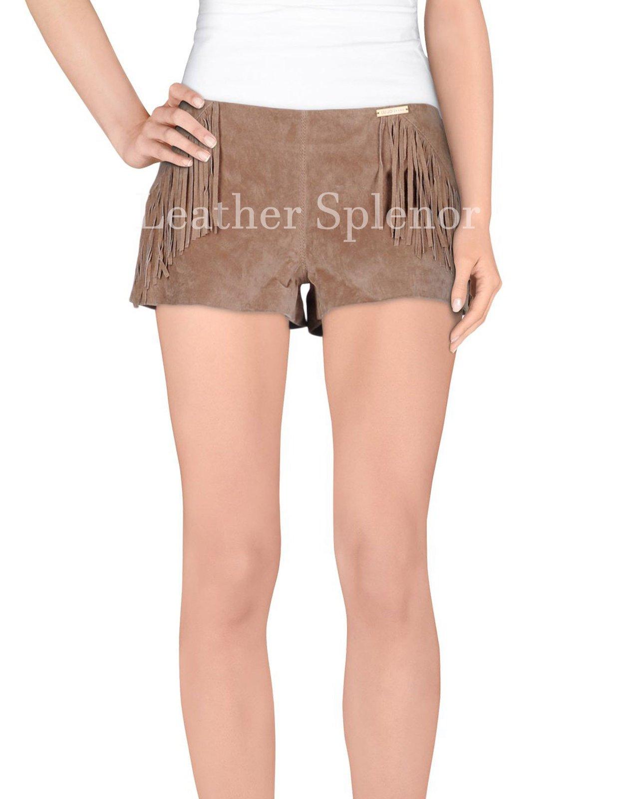 Fringe Detail Women Leather Shorts