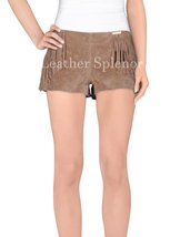 Fringe Detail Women Leather Shorts