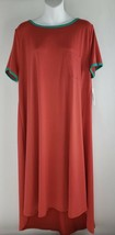 LuLaRoe Carly Dress Peach with Teal Ring collar NWT W/Pocket  Womens Sz XL - $26.72