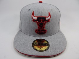 Chicago Bulls New Era Size 7 Fitted 59Fifty Official NBA Cap Hat Gray Red White
