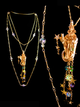 Vintage gothic Wizard Necklace brooch set - Kirks folly Chandelier of rh... - $225.00