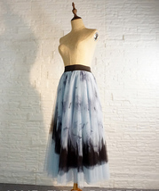 Dusty Blue Long Tulle Skirt Butterfly Dye Tulle Skirt Plus Size Party Outfit image 7