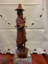 "Vintage Hand Carved Asian Man with Cane Wooden Statue 12"" Tall21"